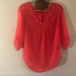 Sheer long sleeve blouse by Express, Size XS